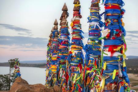 Shaman totems on Olhon island, Baikal, Russia