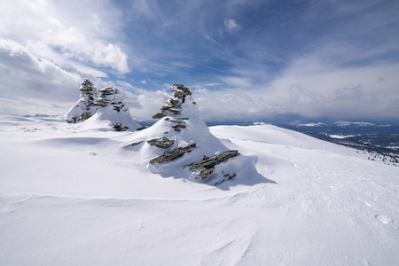 Western sayan mountains ergaky siberia russia in winter time  Stock Photo