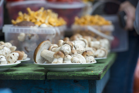selling mushrooms at the farmers market in the village
