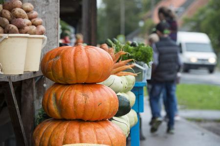 on the street selling food vegetables fruits in autumn season Standard-Bild