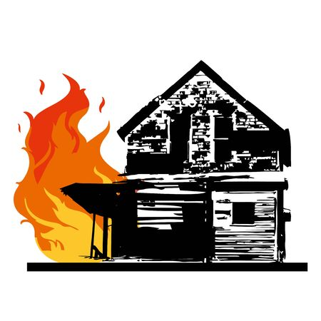 burning wooden house with window red black