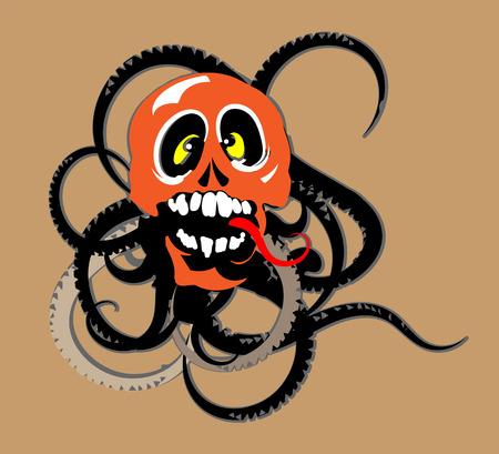 black tentacles dangerous skull and snake sticker on car Illustration