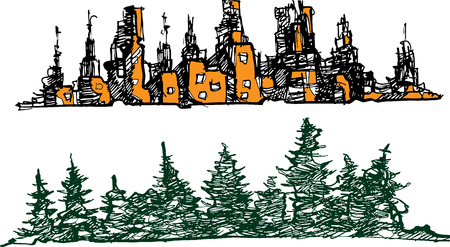 set sity & trees outdors panoram pine pencil art Illustration