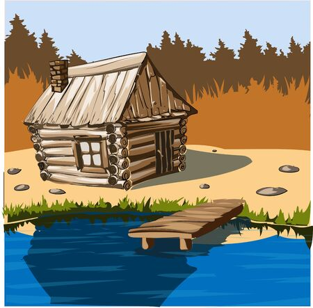 wooden house on the lake for recreation and fishing Standard-Bild