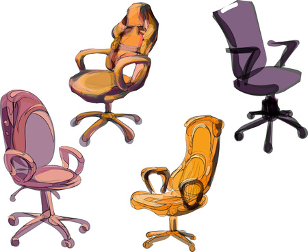 office furniture collection of four chairs, modern style Illustration
