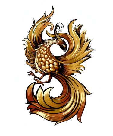 mystic Bird fire Phoenix for t-shirt design