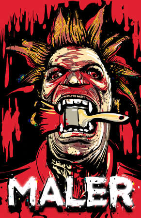 one maler man psychodelic man t-shirt design