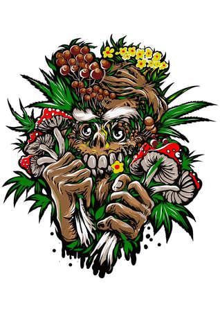 Vegan man And food psycho illustration t-shirt design