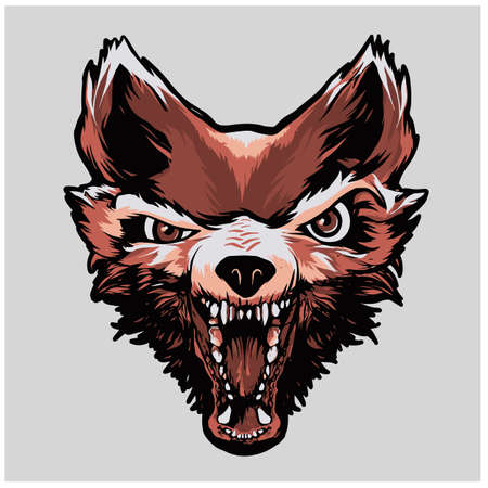 a small head of a Fox wolf dog red Illustration