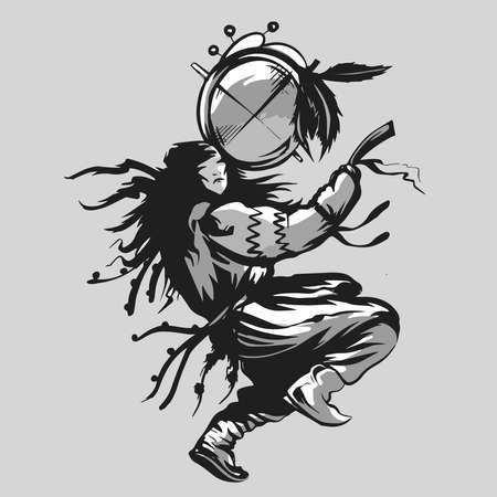 shaman dancing man with tambourine black and white vector