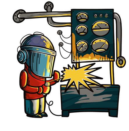 welder installer in a mask welding parts in the workshop