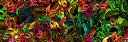 the background of the skull is colored in different sizes