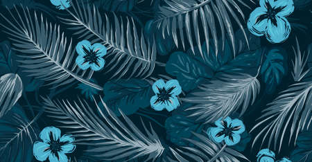 blue tropical leaves trees background seamless texture Illustration