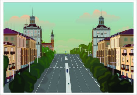 Avenue city, a street laden with greenery, stretching to the horizon, against the background of the evening sky. Çizim