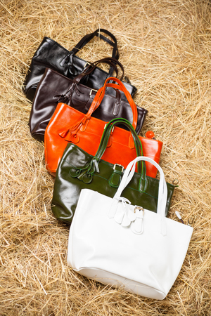 many colored: Many colored womens bags in the hay