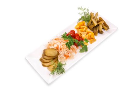 Pickled cucumbers, tomatoes, squash, sauerkraut, fresh dill and parsley