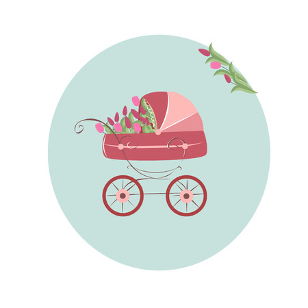 baby stroller, pink tulips on blue background Ilustracja