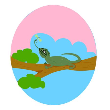a big lizard, green iguana on a tree  イラスト・ベクター素材