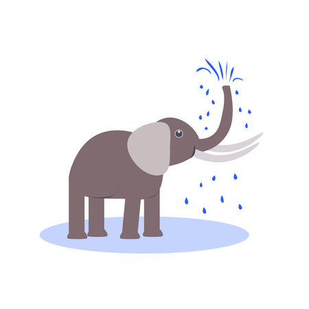 gray elephant in a puddle on a white background