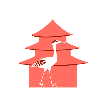 white crane on a red background