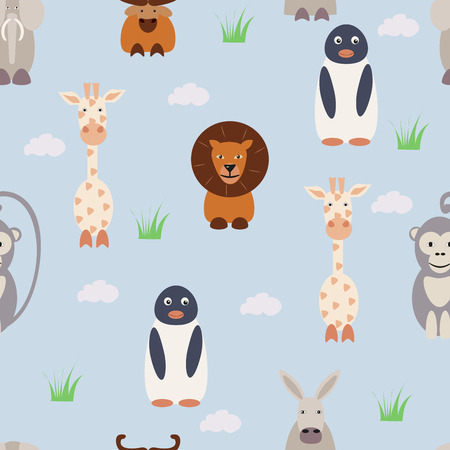 pattern with animals on a blue background