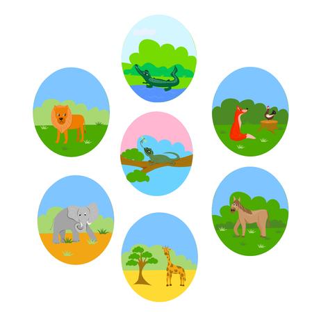 happy animals - cheerful zoo, set of animals Illustration