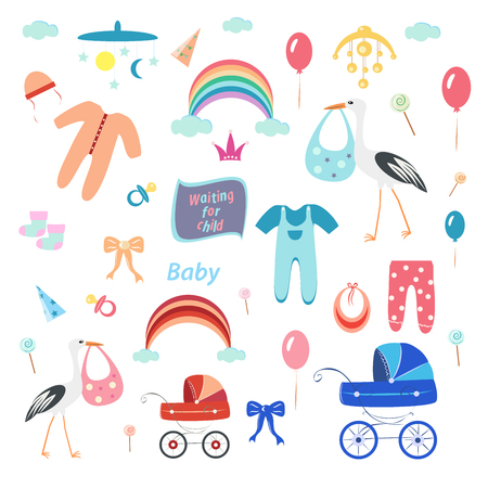 kids set, clothes and toys on a white background, stork and baby carriage, vector illustration, for girl and boy