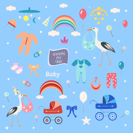 set of children, clothes and toys on a blue background, a stork and a baby carriage, for a girl and a boy Illustration
