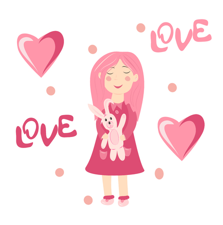 girl in love holds a bunny, pink heart on a white background Illusztráció