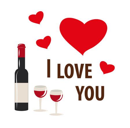 a bottle, a glass, wine, a heart, I love you Ilustração