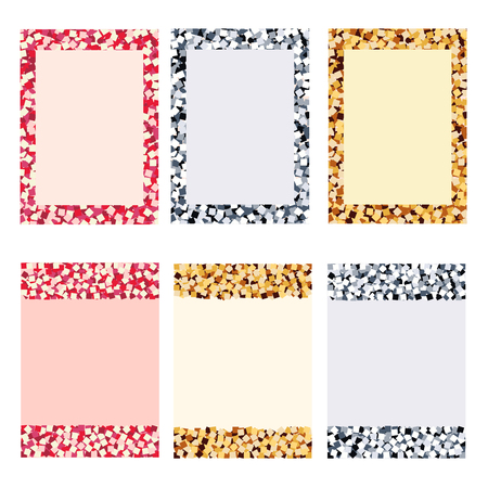 glitter mosaic, greeting cards on a white background