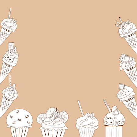 white cakes on a brown background, vector illustration