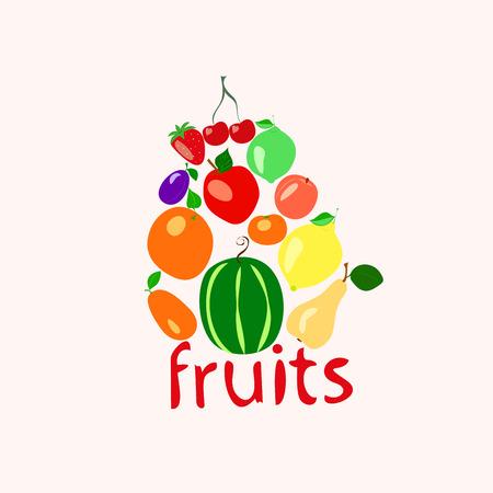 set of fruits on a light background, vector illustration, Illustration