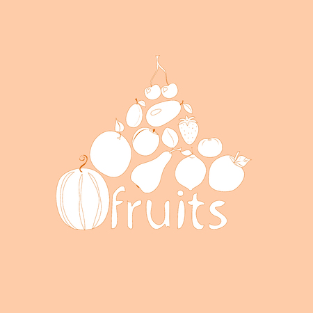 fruit on a pink background,  vector illustration, Illustration