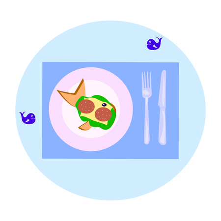 sandwich with sausage in the form of a whale on a blue background, vector illustration