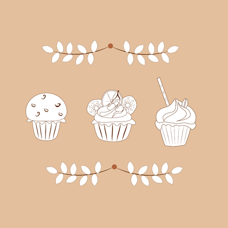 white contour cakes  on a brown background, vector illustration