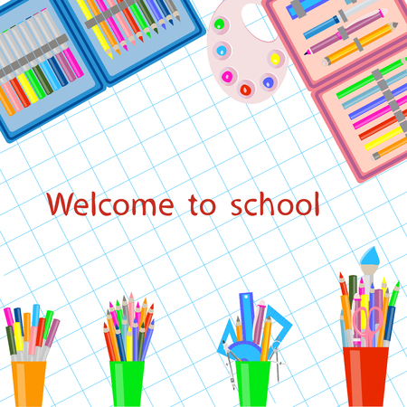 school supplies on white background, notebook page, Illustration