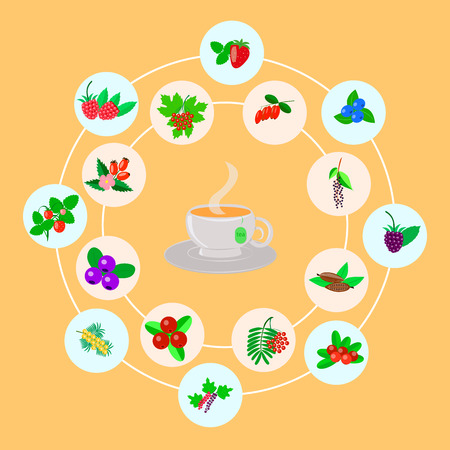 berry set for tea on a yellow background Illustration