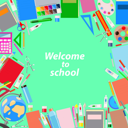 school supplies on a green background , vector illustration Illustration