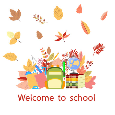 welcome to school, autumn leaves on a white background Иллюстрация