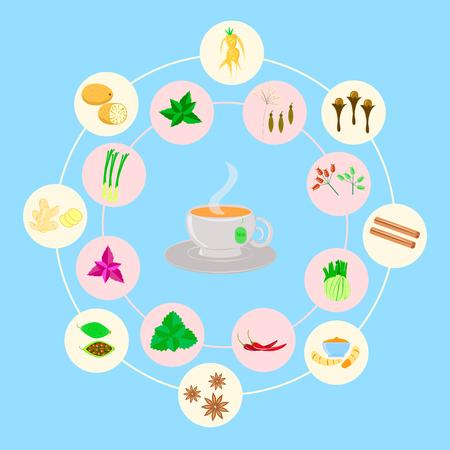 set of spices for tea, on blue background, Illustration