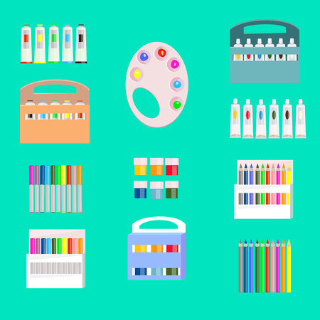 Drawing accessories on a green background, vector illustration