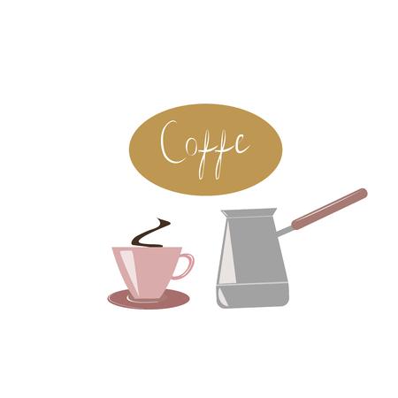 aromatic drink, coffee, pink cup,turkish coffee pot Иллюстрация