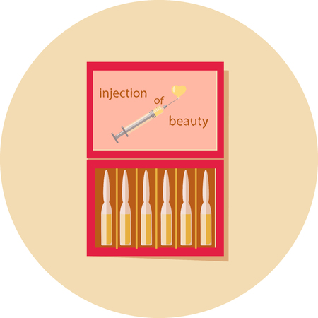 ampoule of beauty in a red box, beige background,