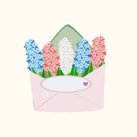 hyacinths in an envelope on light background, vector illustration Stock Illustratie