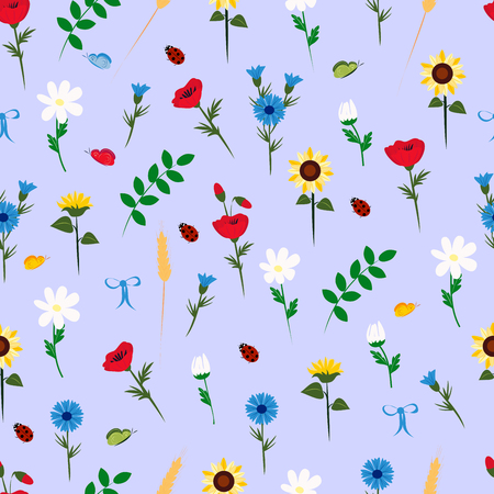 pattern with wildflowers on a blue background, vector illustration Illustration