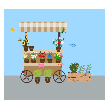flower shop, brown trolley on wheels, summer flowers,