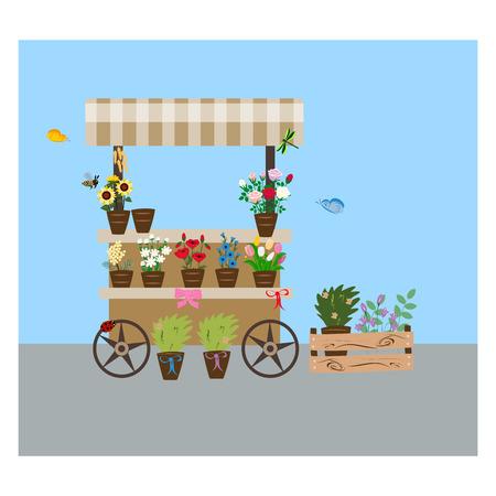 flower shop, brown trolley on wheels, summer flowers,