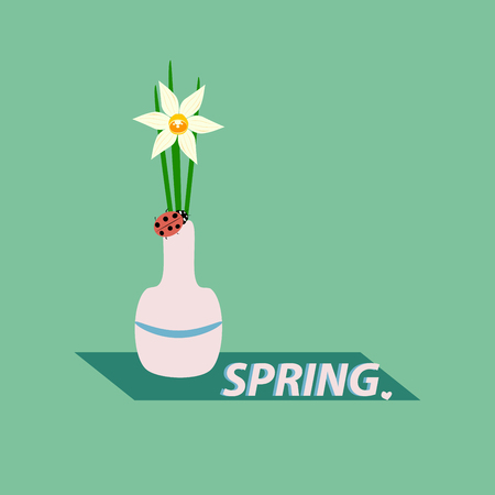 Narcissus in a vase on green background, vector illustration