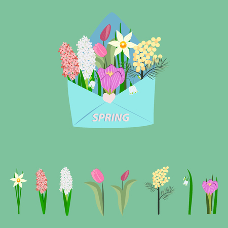 assorted flowers in an envelope on green background, vector illustration Stock Illustratie